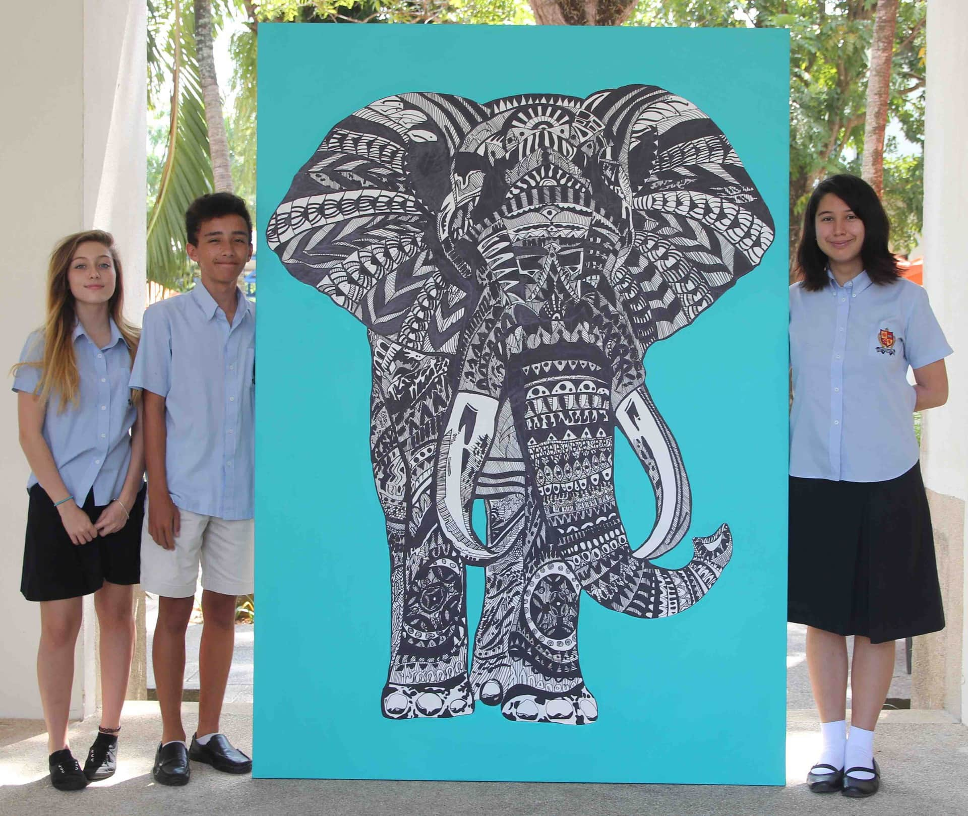 Stunning elephant painting for sale by the BISP Art and Design Academy, all proceeds go to charity